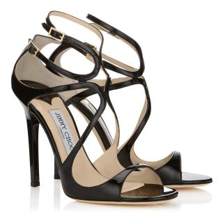 cea82b04eab Jimmy Choo Black Patent Leather Lance Sandals