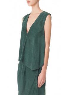 Tibi Green Suede V-Neck Asymmetric hem Vest sleeveless Top US0