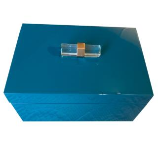 Lacquered Wood Teal Jewellery Box