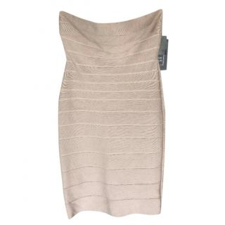 Herve Leger Nude Strapless Lace-Up Back Bandage Dress