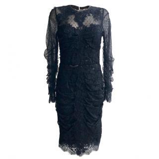 Dolce & Gabbana Black Gathered Tulle & Lace Midi Dress