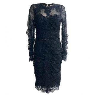 Dolce & Gabbana Black Gathered Tulle & Lace Midi Dress