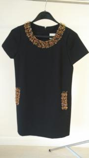 Marc Jacobs BLUE BLACK cotton Pom Pom Trim Mini Dress US4 UK8