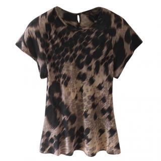 Mulberry silk animal print top