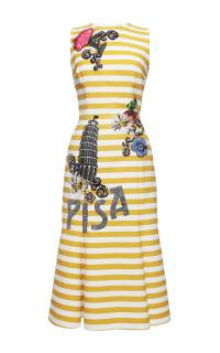 Dolce & Gabbana yellow striped runway pisa dress