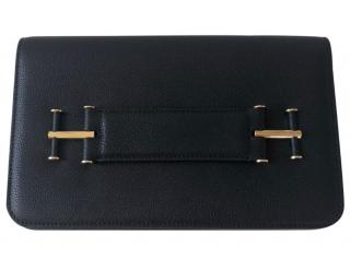 Tom Ford Black Leather Tara Clutch
