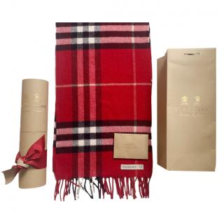 Burberry Parade Red Check Cashmere Scarf