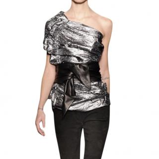 Isabel Marant metallic silver one shoulder top