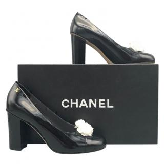 Chanel Patent Leather Camellia Embellished Pumps