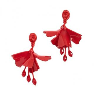 Oscar De La Renta Red Large Impatiens Earrings