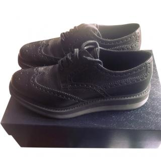 Prada Mens Brushed Leather Platform Brogues