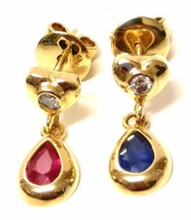 Bespoke Ruby, Sapphire & Diamond Earrings