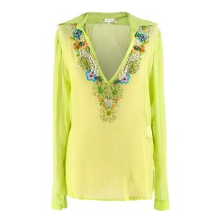 Valentino Embellished Green Sheer Silk Top