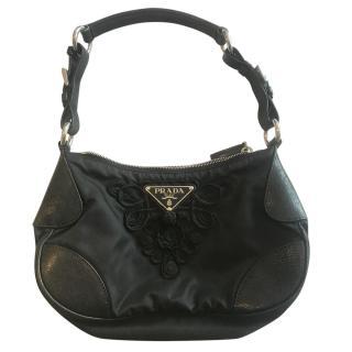 Prada leather trim nylon shoulder bag