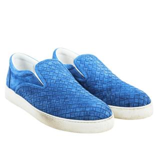 Bottega Veneta Blue Suede Dodger Sneakers