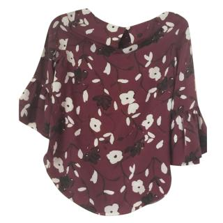 Beulah burgundy silk blouse