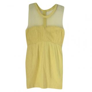 The Kooples yellow polka dot trim dress