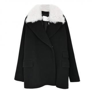 Hugo Boss Black Wool Faux Shearling Collar Pea Coat