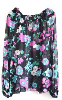Saint Laurent Silk Floral Print Ruffled Collar Blouse