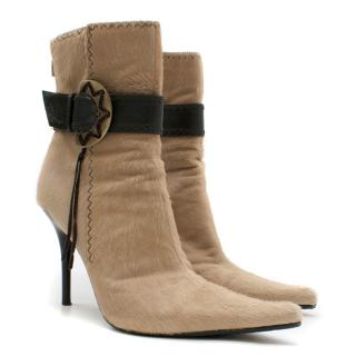 Casadei Tan Calf Hair Stiletto Boots