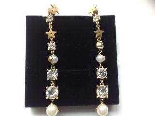 Dior long faux pearl drop earrings