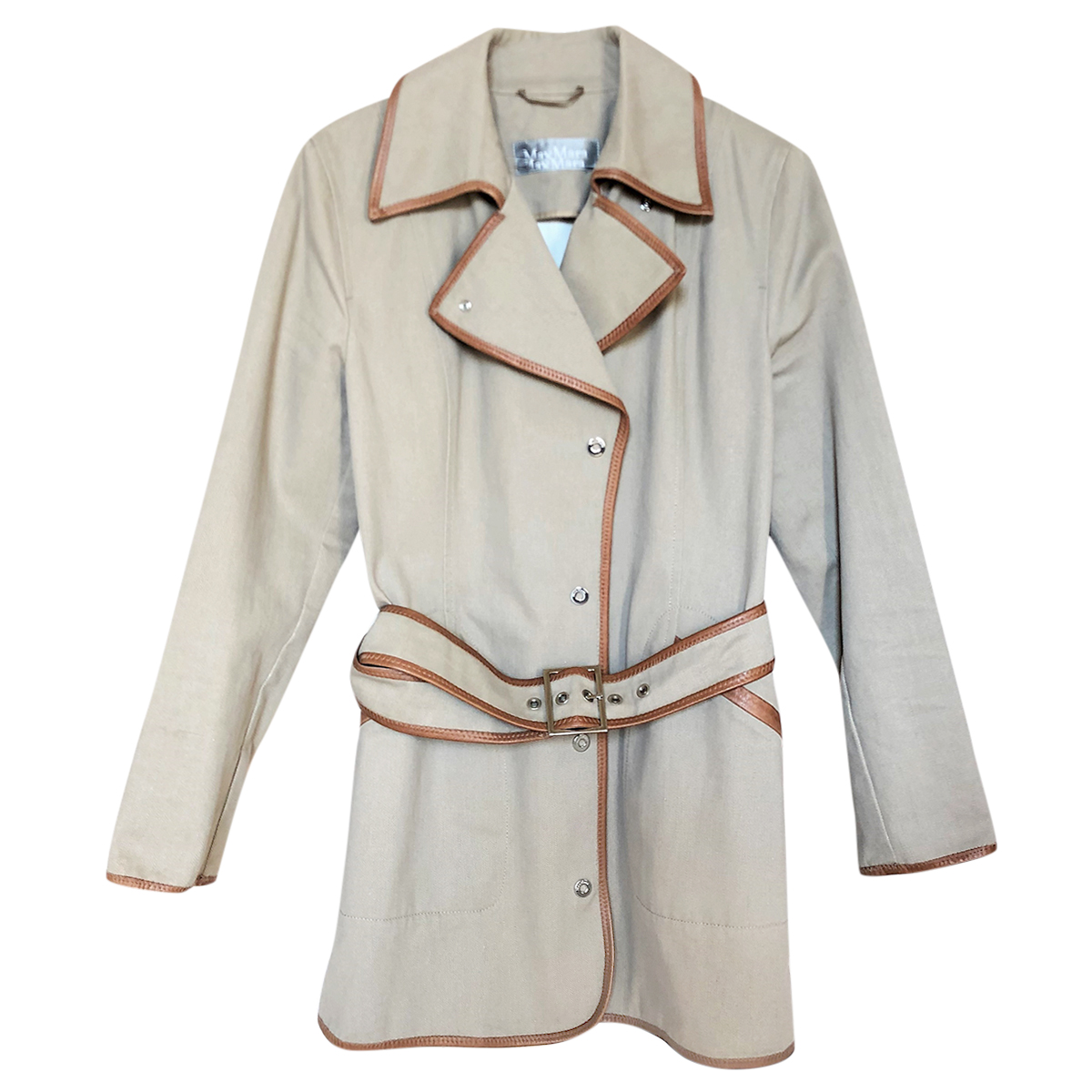 Max Mara Beige Belted Trench Coat W/ Leather Trim