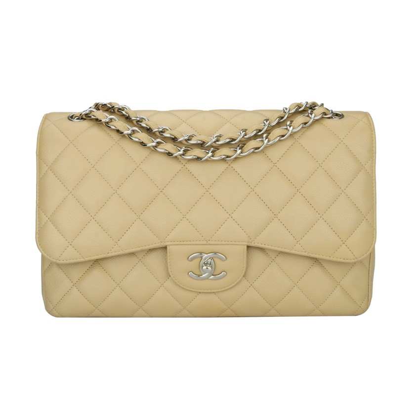 5ec9564ec1f2c4 Chanel Beige Clair Lambskin Jumbo Double Flap Bag | HEWI London