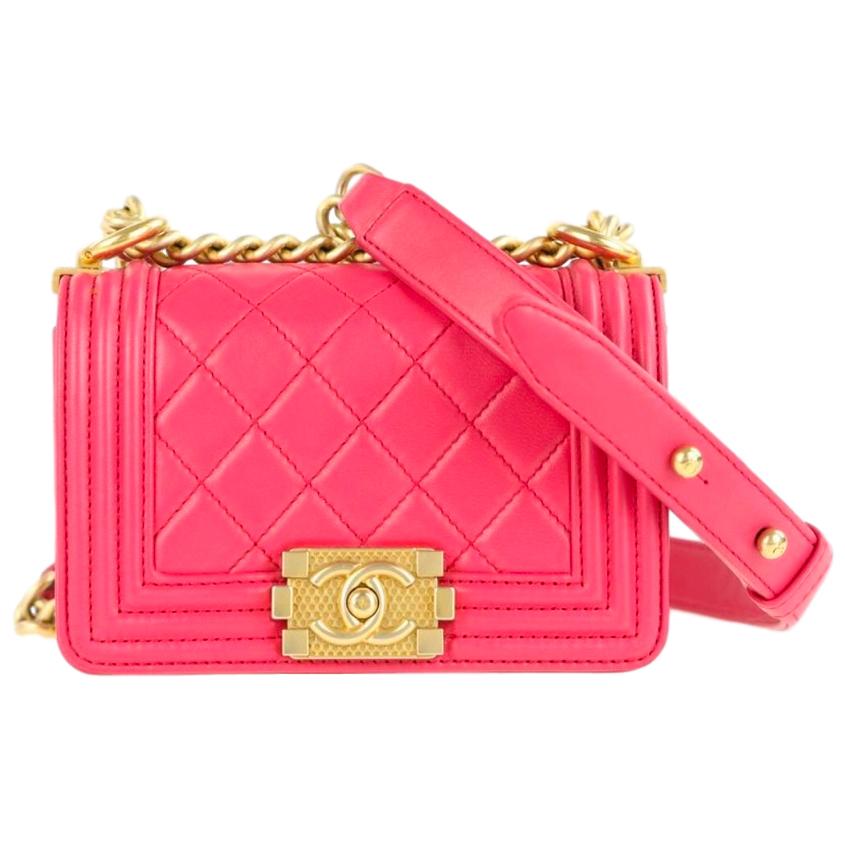 Chanel Boy Mini Pink Calfskin Leather Shoulder Bag