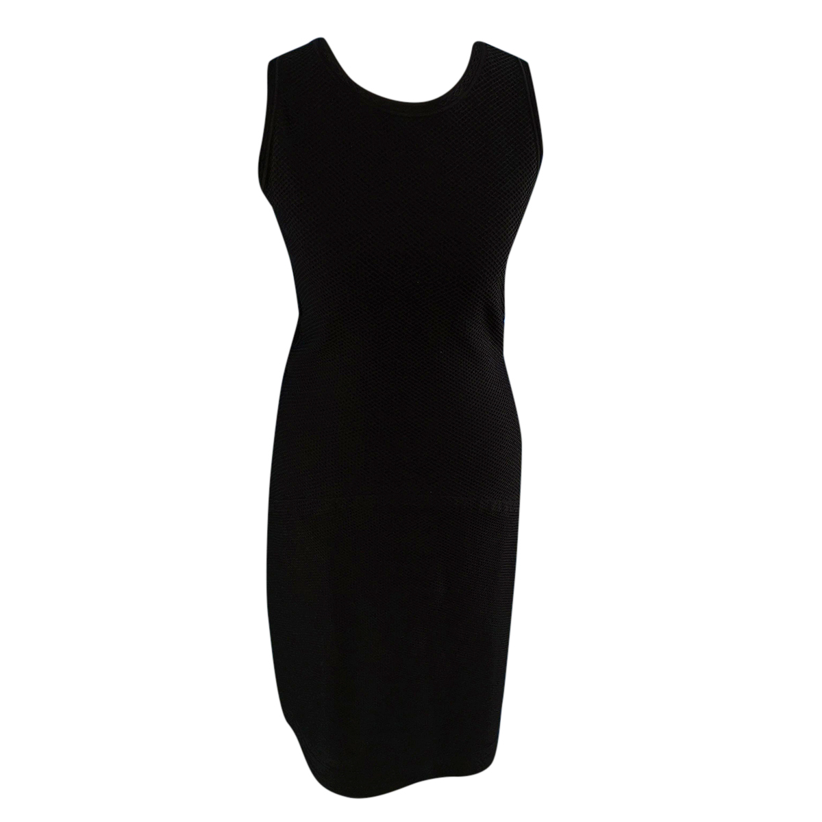 Alaia Black Racer Back Stretch Knit Dress