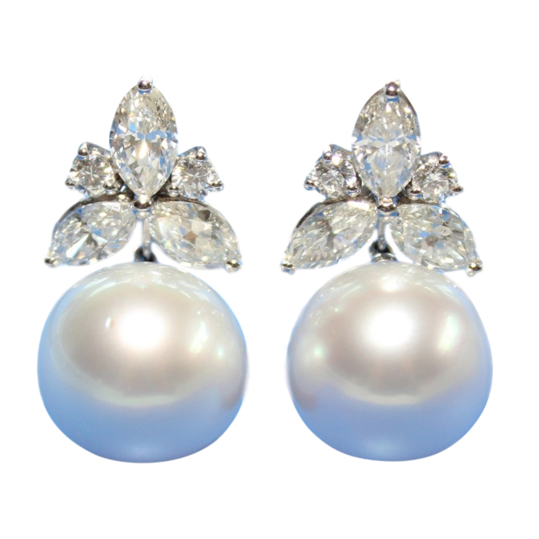 Bespoke South Sea Pearl & Diamond Earrings