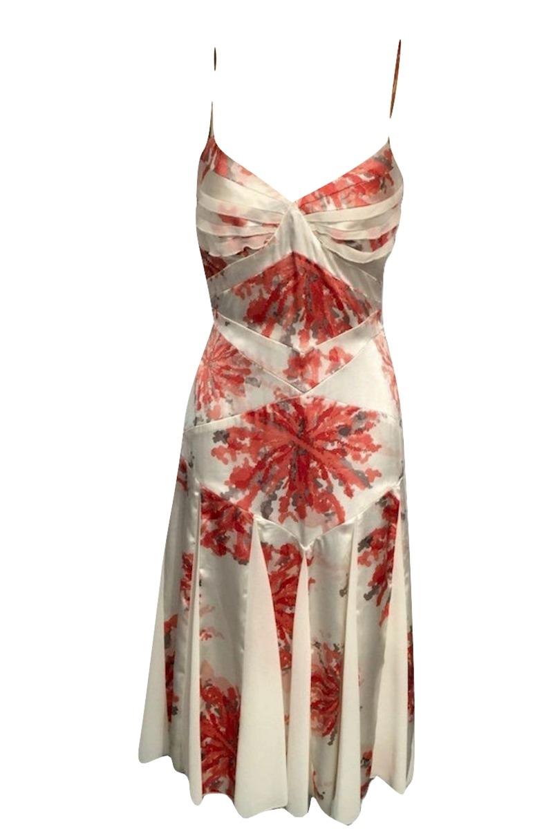 Amanda Wakeley Satin & Chiffon Printed Dress