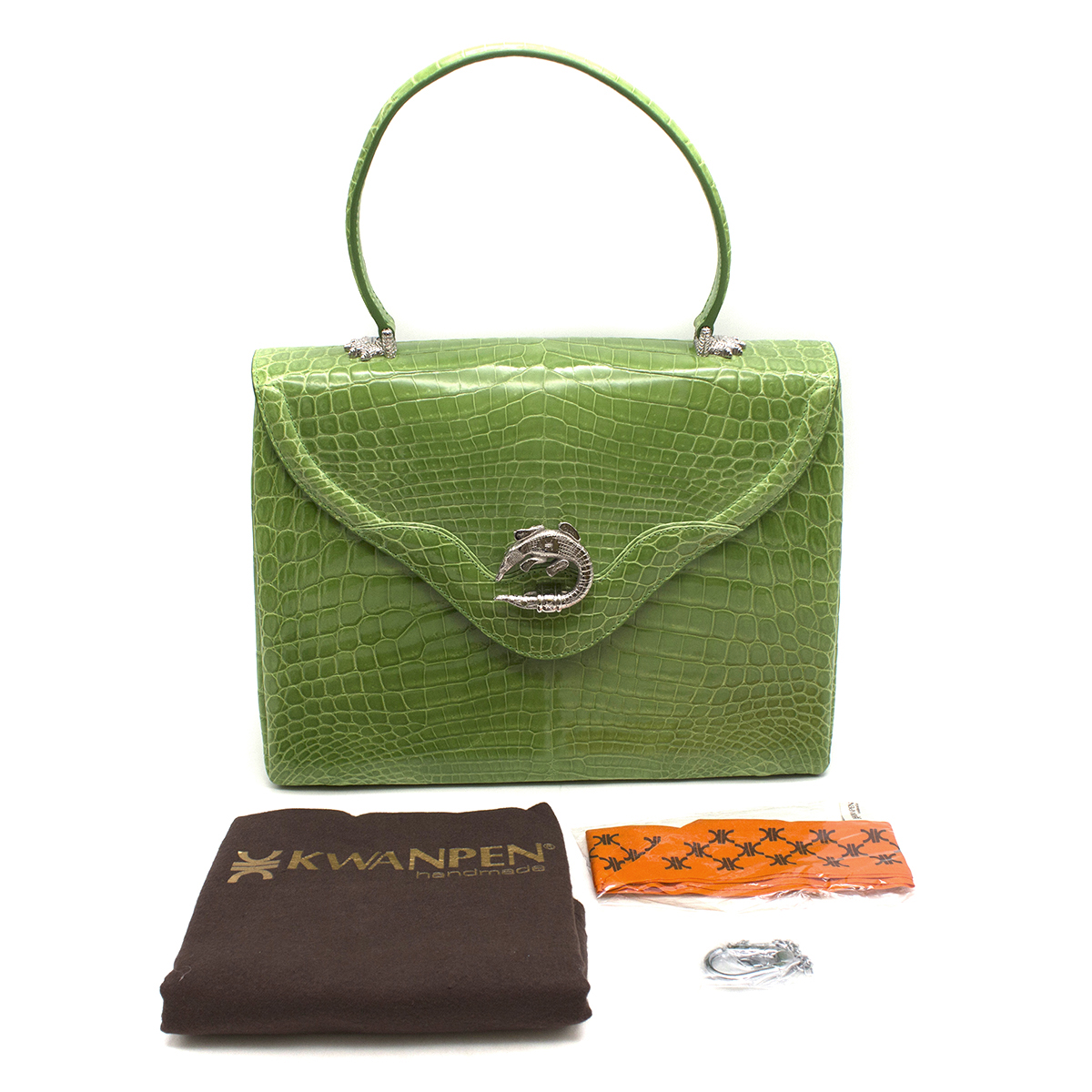 Kwanpen Green Crocodile Leather 5568 Signature Handbag