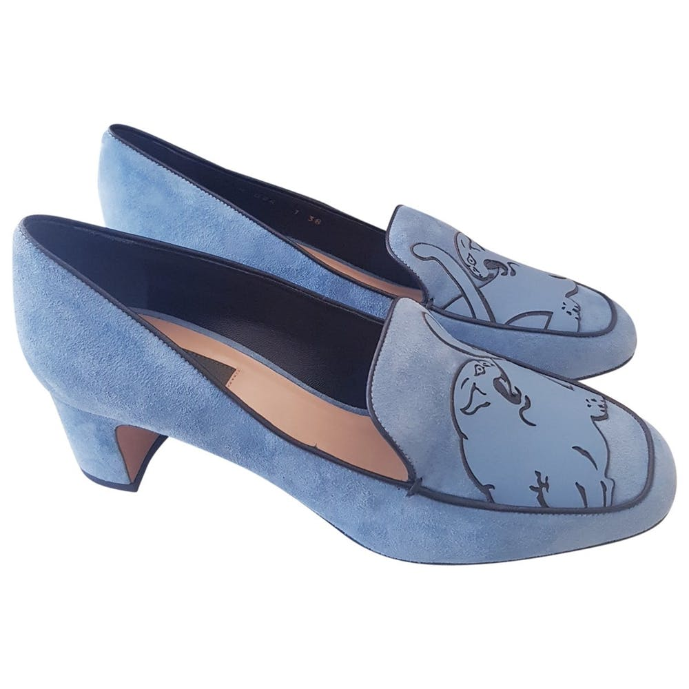 Valentino Panther Blue Suede Pumps