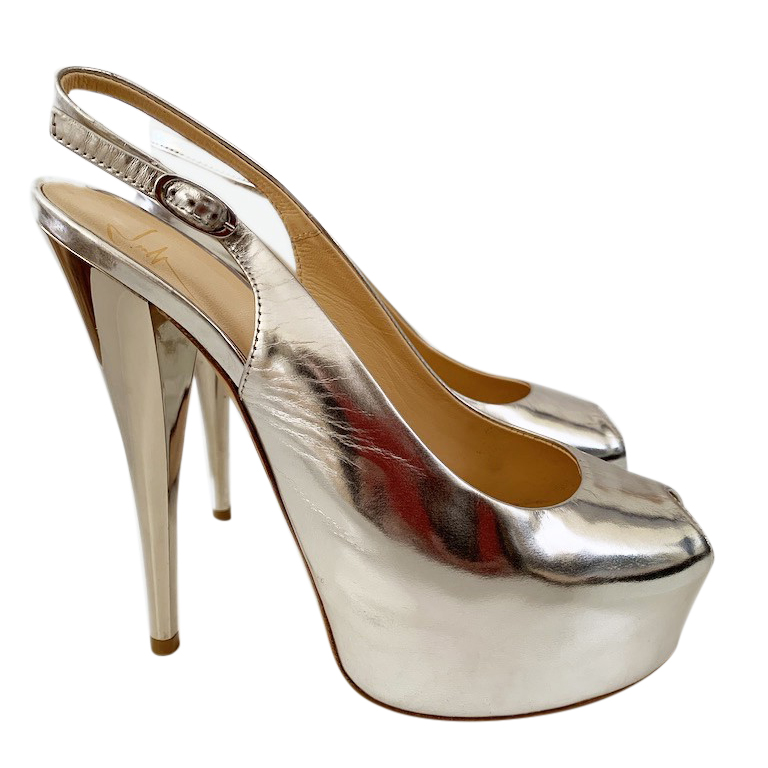 Gina Silver Mirrored Slingback Sandals