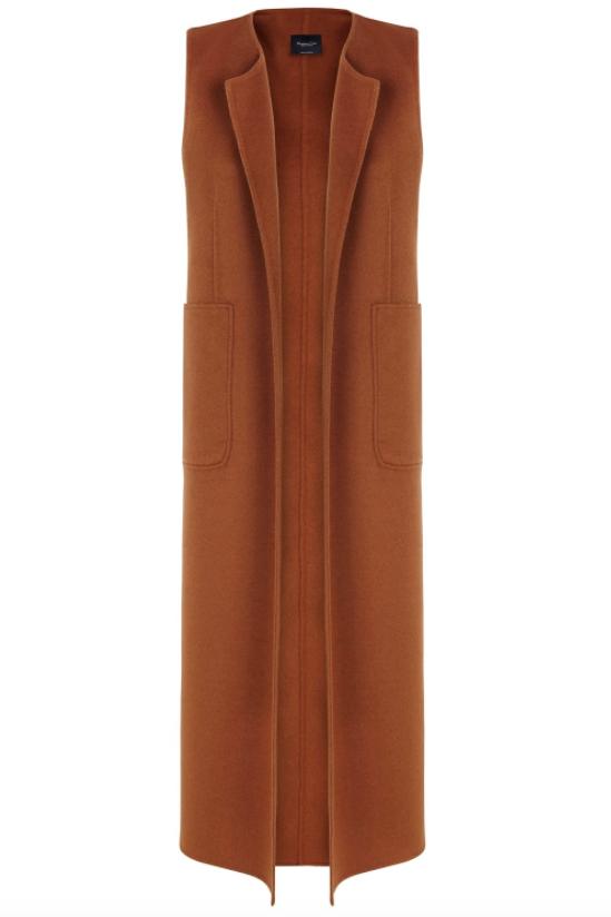 Massimo Dutti Cognac Sleeveless Jacket