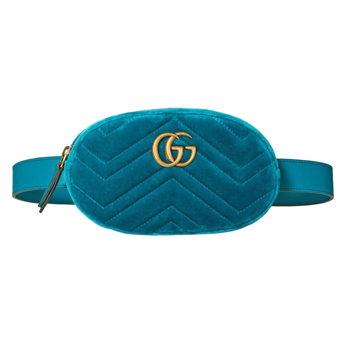 3b08a334d297 Gucci Marmont Teal Velvet Belt Bag | HEWI London