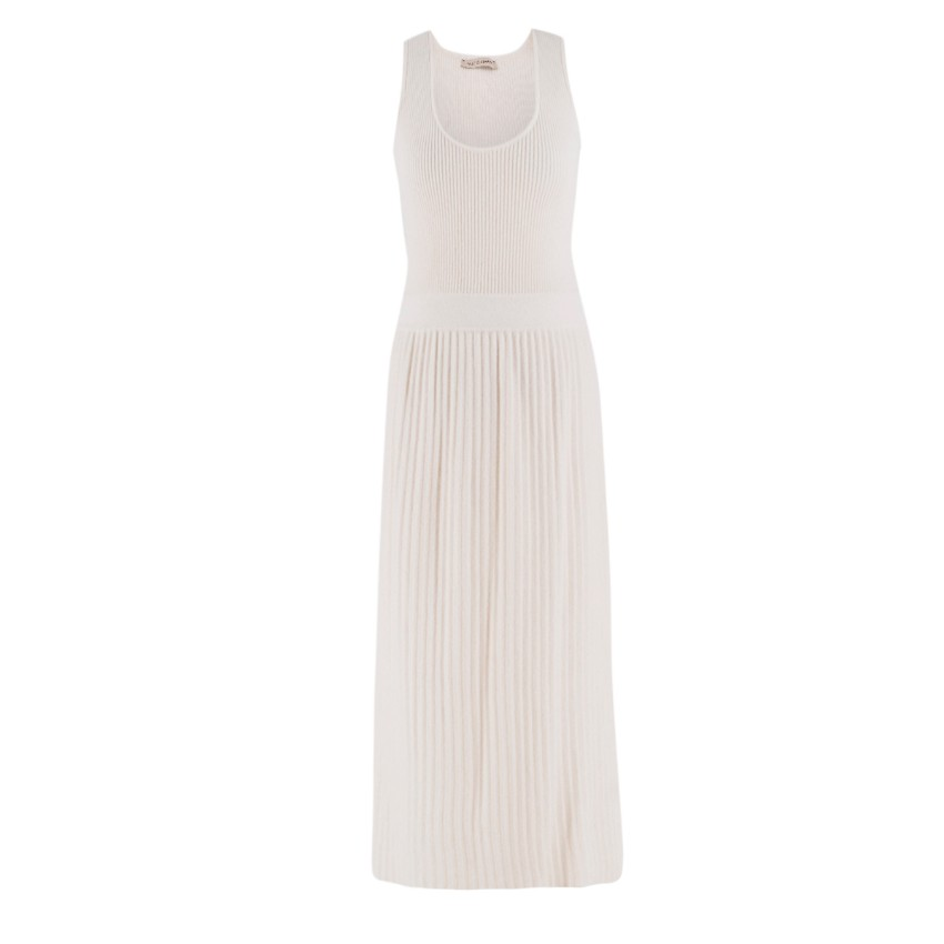 Saint Cashmere Cream Ribbed Knit Dress