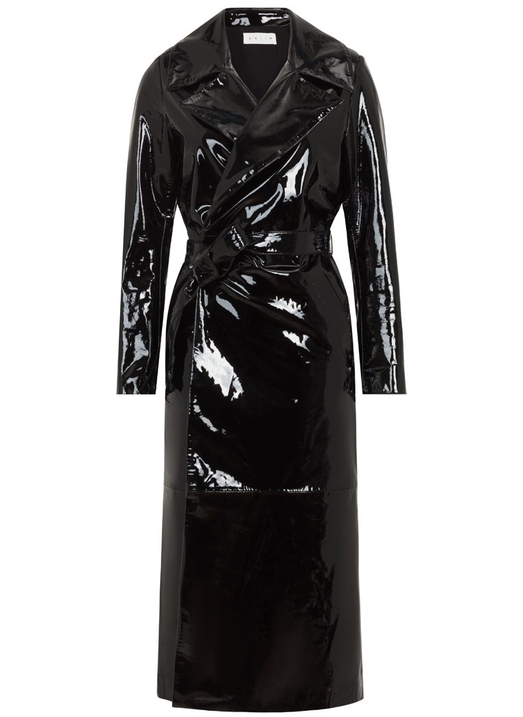 Skiim Karla Black Patent Leather Trench Coat - New Season