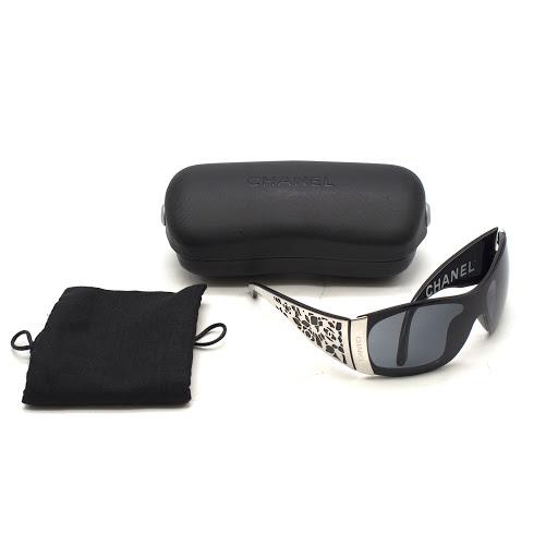 c0a1b3c376 Chanel Black Floral Shield Sunglasses