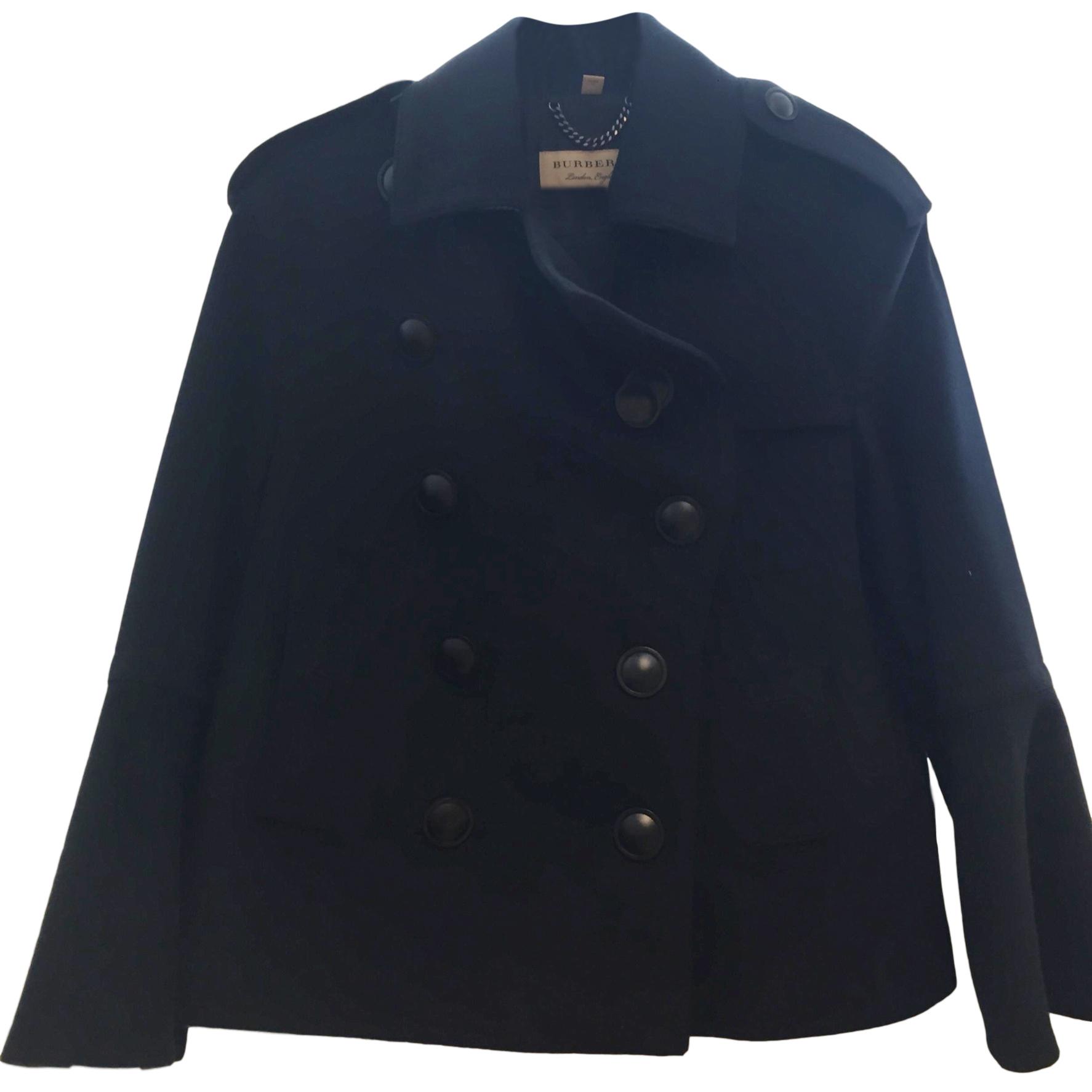 Burberry Black Wool Short Coat