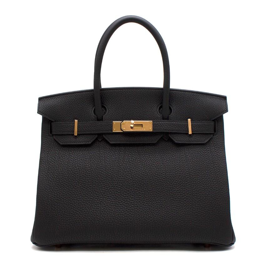 Hermes Noir Togo Leather 30cm Birkin - Rare Rose Gold Hardware
