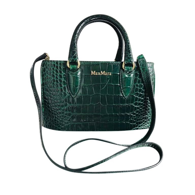 MaxMara Green Crocodile-Effect Leather Bag