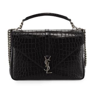 Yves Saint Laurent Sac College Medium Crocodile-Effect Bag