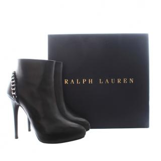 Ralph Lauren Collection Black Chain Trim Ankle Boots