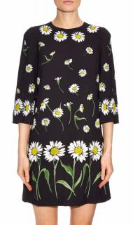 Dolce & Gabbana Black Daisy Print Dress