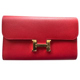 Hermes Epsom Leather Rouge Casaque Constance Long Wallet