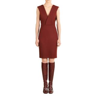 Gucci cross-bust sleeveless wool-blend jersey dress