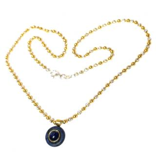 Cabouchon 18ct Yellow Gold Sapphire Pendant Necklace