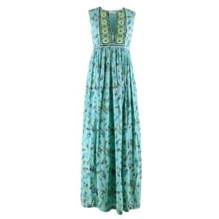 Christophe Sauvat Turquoise Feather Print Long Dress