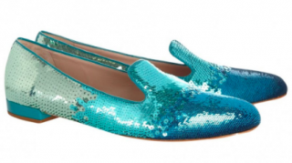 Miu Miu blue-ombre sequin flat pumps